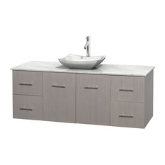 "Centra 60"" Gray Oak Single Vanity, White Carrera Marble Top, Carrera Marble Sink"