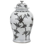 Legends of Asia - Black And White Yuan Dynasty Magpie Plum Blossom Temple Jar - This black and white temple jar features a beautiful magpie on a tree top. Handcrafted and painted with a beautiful asian floral landscape. Pair with many of out other temple jars to complete your room decor. Also makes a great gift.