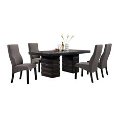 Cappuccino Finish Wood Wave Design Dining Room Kitchen Table And 4 Chairs