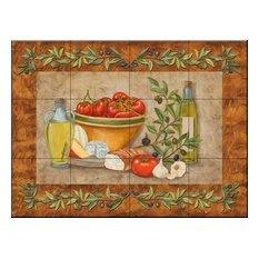 Tile Mural, Tuscany Treats I by Mary Lou Troutman
