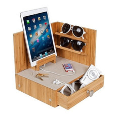 Corner Charging and Sunglass Station, Zen/Bamboo, With 4-Port Usb Dock