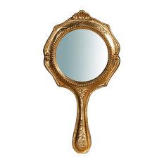 Country Round Handheld Mirror, Gold