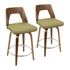 LumiSource Trilogy Counter Stool, Walnut and Green, Set of 2