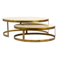 Coffee Table FAE Cream Antique Brass Marble