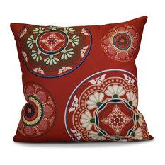 "Medallions Geometric Print Pillow, Red, 20""x20"""