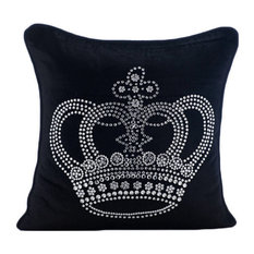 Black Velvet 45x45 Crystals Emperor Crown Cushions Cover, Emperors Crown