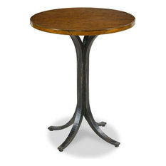 Drink Table Woodbridge Rustico Round Hand-Planed Cherry Wood Metal