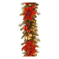 National Tree Company - 9' Decorative Collection Home for the Holidays Garland With Clear Lights - Wreaths and Garlands