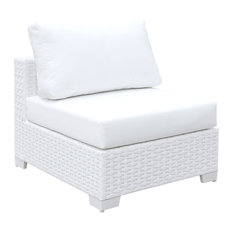 Aluminum Framed Wicker Armless Chair with Fabric Upholstered Padded Seat, White