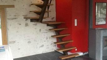 realisation d'un escalier métal marche en bois