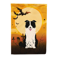 Halloween Border Collie Black White Flag Garden Size