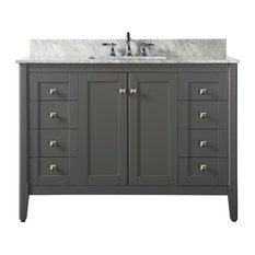 Shelton Bath Vanity Set, Sapphire Gray With Italian Carrara Marble, 48""