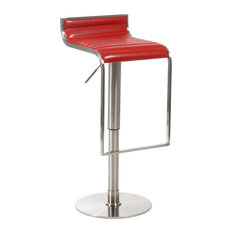 Euro Style Forest Bar and Counter Stool Red Leather and Satin Nickel Bar