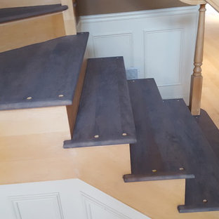 3 and 1/4 maple Classic Gray stain from Minwax , 4 coats satin water base finish