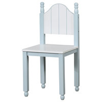 Contemporary Style Wooden Chair With Camel Back, Blue And White