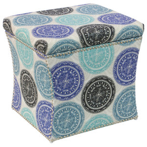 Pleasant Storage Ottoman In Blue And White Transitional Unemploymentrelief Wooden Chair Designs For Living Room Unemploymentrelieforg