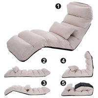 Costway Beige Folding Lazy Sofa Stylish Sofa Couch Beds Lounge Chair W/Pillow