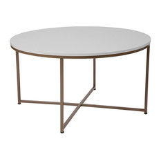 Hampstead Collection White Coffee Table with Matte Gold Frame