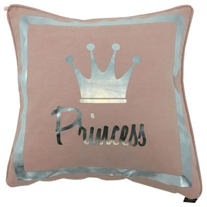 Princess Metallic Cushion Cover, Silver and Pink