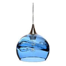 Swell Pendant Form No. 767, Blue Glass Shade, Brushed Nickel Hardware, 4W LED