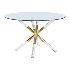 Mercury Dining Table With Acrylic And Gold Legs Round Glass Top