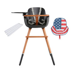 Ovo City Anthracite High Chair With Seat Pad, US Flag, White Extensions