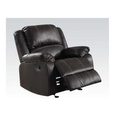Metal And Leatherette Rocker Recliner With Cushioned Armrests Black