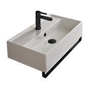Rectangular Wall Mounted Ceramic Sink With Matte Black Towel Bar, One Hole