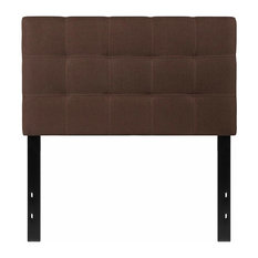 Contemporay Twin Tufted Upholstered Headboard Box Stitch Design Dark Brown