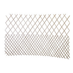 "Set of 2 Pcs Peeled Willow Top Open Pattern Lattice Fence, 72""L x 48""H"