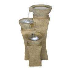 LED Lighted Cascade Bowls Fountain with Pump by Pure Garden