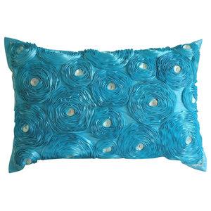 Aquamarine Roses Art Silk Turquoise Lumbar Cushion Cover, 30x65 cm