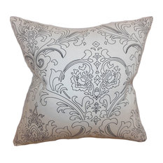 Uanita Floral Floor Pillow Black White