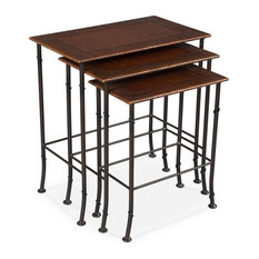 Amerigo Set Of Two Gardens Leather Nesting Tables Embossed Over Wood
