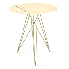 Hudson Inlay Side Table, Brassy Gold, Maple