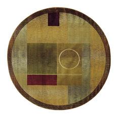 Aspire Geometric Green and Brown Rug, 8' Round