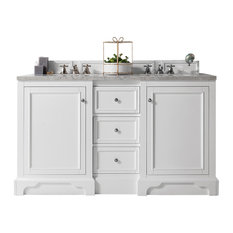 De Soto 60-inch Double Vanity Bright White Base Cabinet Only