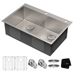 Kraus - Kraus Drop-In Topmount 16 Gauge Double Bowl 2-Hole Stainless Steel Kitchen Sink - Known for exceptional quality, Standart PRO sinks feature contemporary tight-radius corners and channel grooves designed for superior drainage. Convenient drop-in design can be installed with any type of kitchen counter for a beautifully finished look.