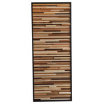 """Modern Textures - Reclaimed Wood Wall Installation Art, 24""""x60"""", Vertical - Rich with contrast and depth, this piece would make a stunning piece of artwork for your home. Maple, alder, poplar, oak and cedar wood scraps were cut at random depths, widths and lengths to create amazing dimension in this piece. Each piece of wood was individually sanded then stained in dark walnut or hand rubbed with natural Danish oil prior to being placed into the design. I left some pieces completely naked (no oil or stain) to maintain the natural color."""