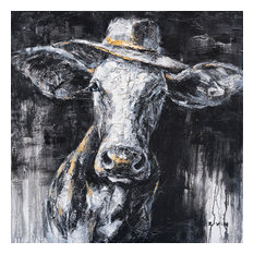 """""""Cow Wearing a Hat Hand Painted"""" Canvas Artwork, 40""""x40"""""""