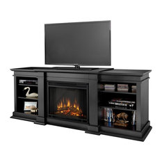 Real Flame - Real Flame Fresno Indoor TV Stand Electric Fireplace in Black - Entertainment Centers and Tv Stands