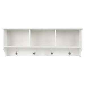 3-Compartment and 4-Hook Wall Mounted Coat Rack, White