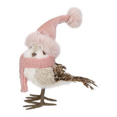 "6.25"" Winter Bird in Pink Santa Hat Tabletop Christmas Decoration"