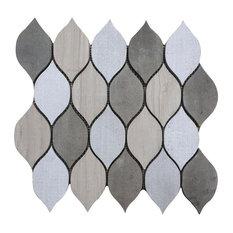 "Soft Harmony Feathers 12""x12"" Marble Mosaic"