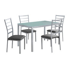 Offex OFX-503684-MO Kitchen 5 Piece Dining Set Frosted Tempered Glass/Silver