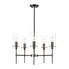 Arcadia Five-Light Chandelier, Modern Bronze and Clear