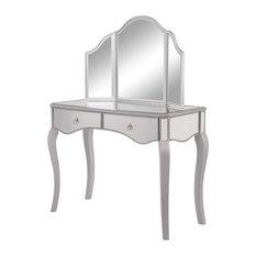 Elegant Decor Mf6-2013S Contempo Vanity Table Set, Hand Rubbed Antique Silver