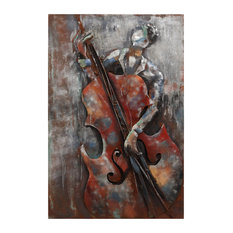 The Bassist Primo Mixed Media Hand Painted 3D Metal Wall Art