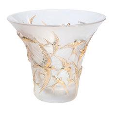 Lalique Hirondelles Flared Gold Vase