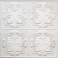 "Global Specialty Products - 24.5""x48.5"" Yesler Tin-Style Ceiling Tile, White - Ceiling Tile"